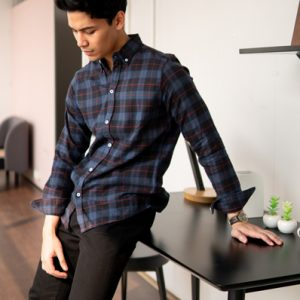 Full-sleeve button-down flannel shirt with an allover plaid print and adjustable cuffs. Regular fit. Price: ৳1000. Made in Bangladesh