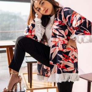 Short Silk Floral Kimono in Navy Blue with Lace by Gorur Ghash. Fabric: Shamoz Silk. Made in Bangladesh (BD)