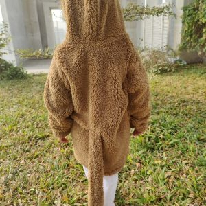 The image displays Gorur Ghash newest collection of a cute oversized hoodie for kids (toddlers). The hoodie comes in brown and is known as The Monkey. It has been proudly made in Bangladesh (BD)