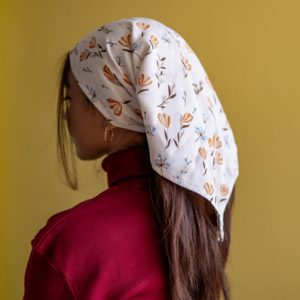 Printed Georgette Square Head Scarf For Women in White by Gorur Ghash. Fabric: Georgette. Price: ৳400. Made in Bangladesh (BD). Buy Wildflower Willows now!