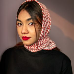 Printed Georgette Square Head Scarf For Women in Red by Gorur Ghash. Fabric: Georgette. Price: ৳400. Made in Bangladesh (BD). Buy Bloomingdale Cherry now!