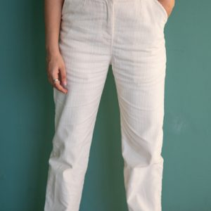 Women's White Mid Rise Corduroy Straight Leg Casual Pants by Gorur Ghash. Fabric: Corduroy. Price: ৳1400. Made in Bangladesh(BD). Buy it now!