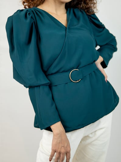 Women's Exquisite Full Sleeve Georgette Wrap Top in Green by Gorur Ghash. Fabric:Gerogette.Price: ৳1200.Made in Bangladesh (BD).Buy it now!