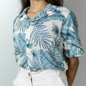 Women's White and Blue Printed Cuban Shirt by Gorur Ghash. Fabric: Viscose. Price: ৳1300. Made in Bangladesh (BD). Buy it now!