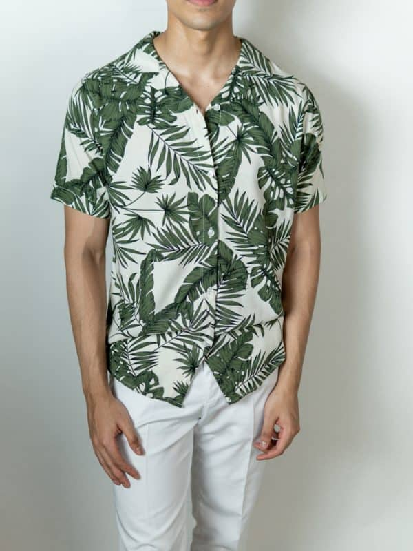 en's White and Green Printed Cuban Shirt by Gorur Ghash. Fabric: Viscose. Price: ৳1300. Made in Bangladesh (BD). Buy it now!