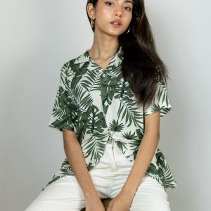 Women's White and Green Printed Cuban Shirt by Gorur Ghash. Fabric: Viscose. Price: ৳1300. Made in Bangladesh (BD). Buy it now!