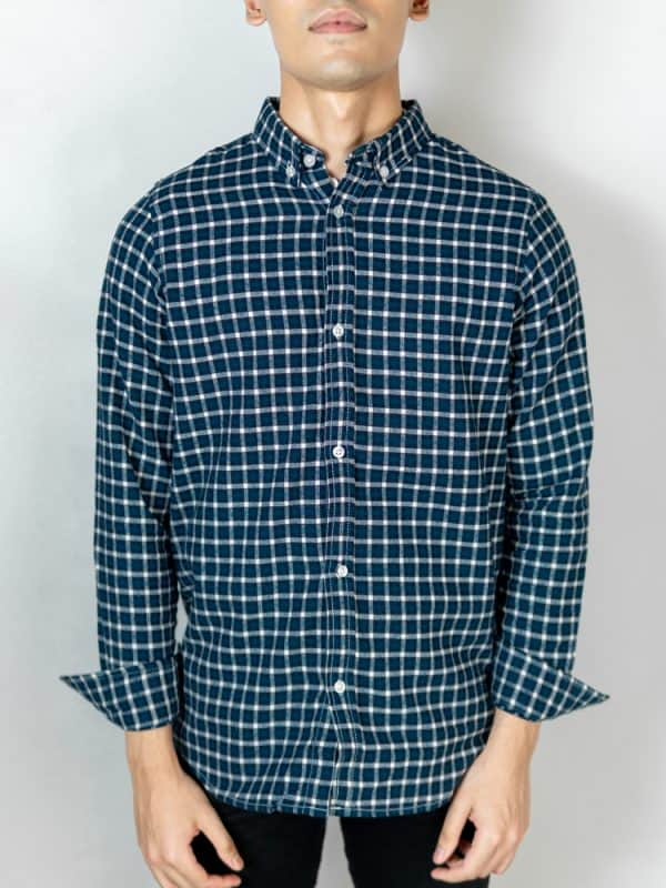 Men's Long Sleeve Flannel Shirt in Turquoise by Gorur Ghash. Fabric: Flannel. Price: ৳1200. Made in Bangladesh (BD). Buy it now!