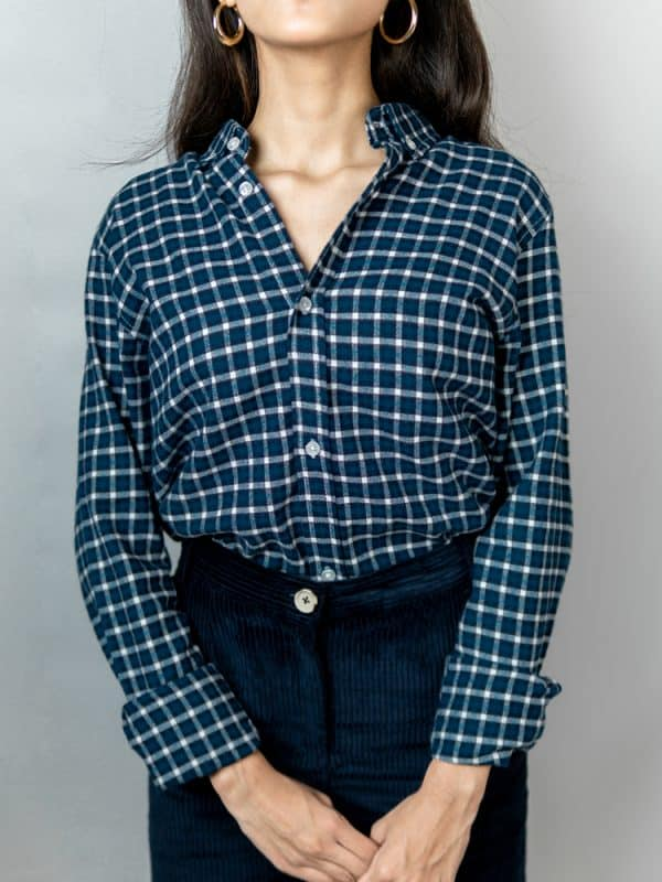 Women's Long Sleeve Flannel Shirt in Turquoise by Gorur Ghash. Fabric: Flannel. Price: ৳1200. Made in Bangladesh (BD). Buy it now!