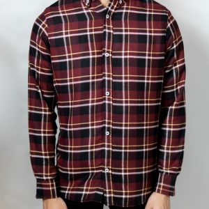 Men's Long Sleeve Flannel Shirt in Maroon by Gorur Ghash. Fabric: Flannel. Price: ৳1200. Made in Bangladesh (BD). Buy it now!