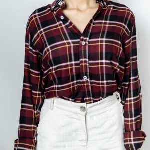 Women's Long Sleeve Flannel Shirt in Maroon by Gorur Ghash. Fabric: Flannel. Price: ৳1200. Made in Bangladesh (BD). Buy it now!
