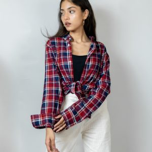 Women's Long Sleeve Flannel Shirt in Red and Blue