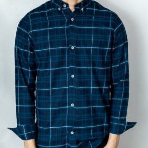 Men's Long Sleeve Flannel Shirt in Blue by Gorur Ghash. Fabric: Flannel. Price: ৳1200. Made in Bangladesh (BD). Buy it now!