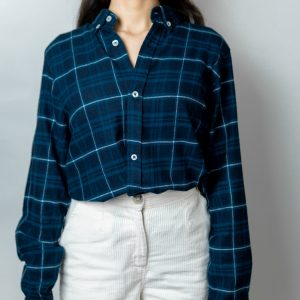 Women's Long Sleeve Flannel Shirt in Blue by Gorur Ghash. Fabric: Flannel. Price: ৳1200. Made in Bangladesh (BD). Buy it now!