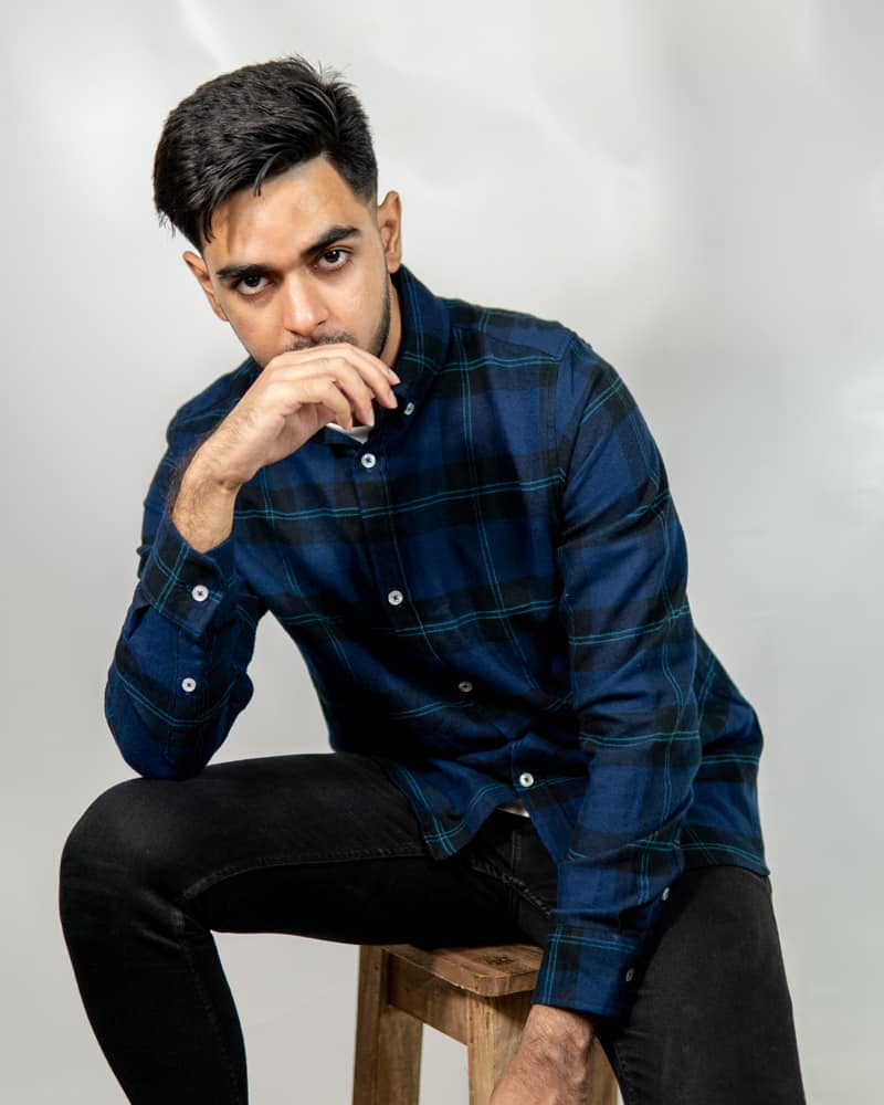 Men's Long Sleeve Flannel Shirt in Navy and Black